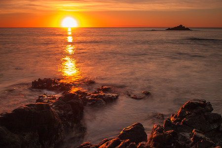 kaikoura: Long exposure image of a summer sunrise over south pacific
