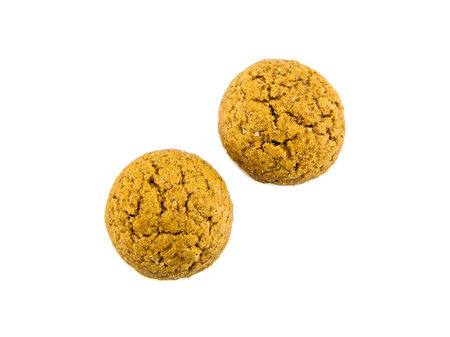 Group of Pepernoten, typical Dutch treat for Sinterklaas on december 5th, on White Background photo