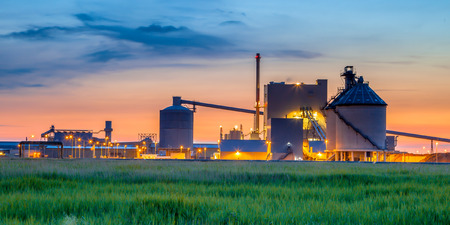 industrial equipment: Part of a heavy Industrial Chemical area with surreal fantasy colors in twilight