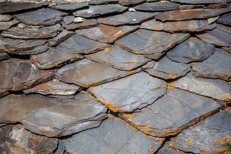 schist: Schist Roof Tiles With Lichen