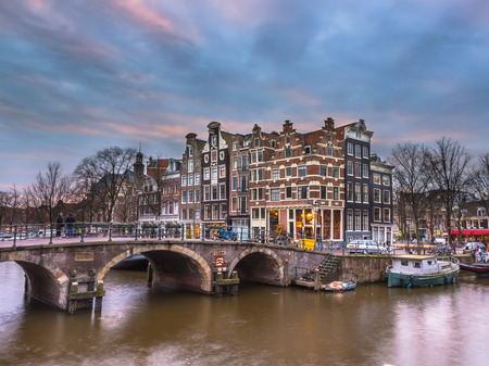 prinsengracht: Colorful traditional canal houses on the corner of brouwersgracht and Prinsengracht in Amsterdam