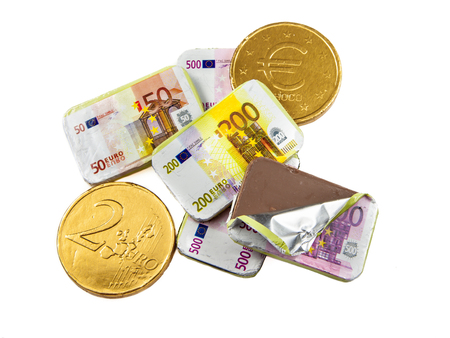 sinterklaasfeest: Chocolate coins and banknotes as a concept for crisis in financial bussiness