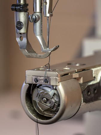 Professional Leather sewing machine with needle ready for action photo
