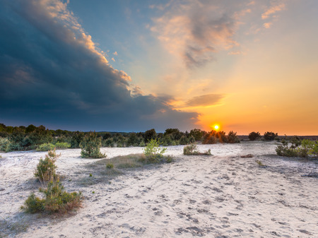 veluwe: Sunset with Heavy Clouds on Ginkelse Heide, Veluwe, Netherlands