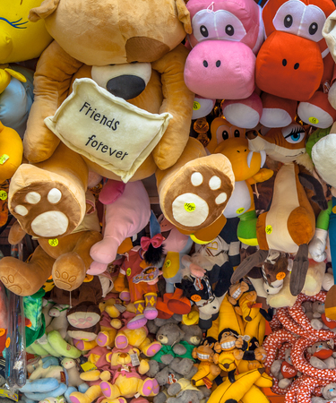 arcade games: Prizes for children games on an arcade at a fair Stock Photo