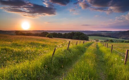 agriculture landscape: Trail is vanishing to a point on the horizon in german countryside with hills Stock Photo