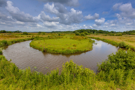 meandering: Meandering lowland river Drentse Aa in a National Park in the Netherlands Stock Photo