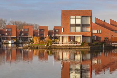 housing styles: Modern water front houses in Leeuwarden Zuiderburen, the Netherlands