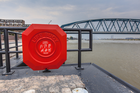 Modern public Life Buoy on the quay of the river Waalkade in Nijmegen, Netherlands Stock Photo