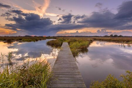 jetty: Wooden footbridge in wetland as a concept for challenge in nature reserve de Onlanden near Groningen, Netherlands Stock Photo