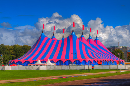 Huge Big Top Circus Tent, Buit up for a Music Festival on a Sunny Day in the Park