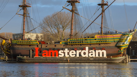 The Amsterdam was an 18th-century cargo ship of the Dutch East India Company anchored in front of the Scheepvaartmuseum in the UNESCO World Heritage site of Amsterdam Editorial