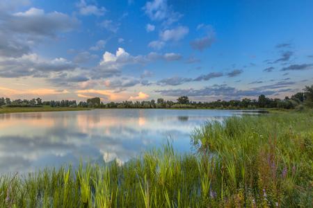 floodplain: Long exposure image of River Forelands of the Rhine in national park de Blauwe Kamer near Wageningen, Betuwe, Netherlands