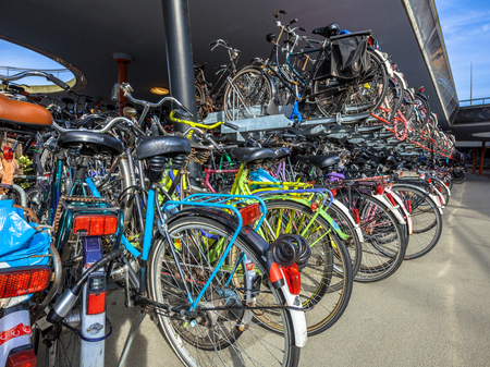 elected: Bicycle parking on Groningen station. The city of Groningen has been elected  most cycling friendly city of the Netherlands for 3 years in a row. Stock Photo