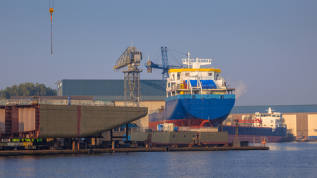 shipway: Cargo Ships Being Constructed on a Wharf in the Netherlands