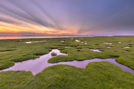 reclamation: Land reclamation in the tidal marsh of the Punt van Reide in the Waddensea area on the Groningen coast in the Netherlands Stock Photo