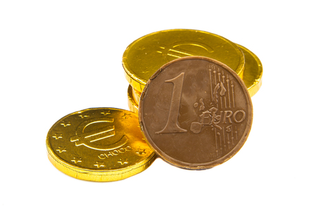pepernoten: Stack of chocolate euro coins as a concept for finance Stock Photo