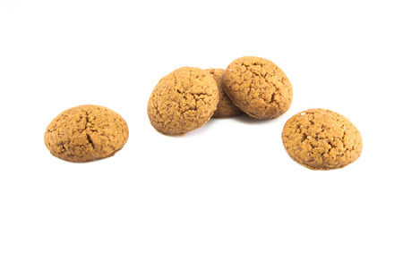 pepernoot: Group of Pepernoten, typical Dutch treat for Sinterklaas on december 5th, on White Background Stock Photo