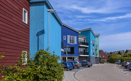 netherlands: Street with modern wooden architecture. Contemporary apartments and houses can be found in many cities in the Netherlands