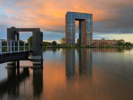 Famous Landmark of Groningen city. The Tasman tower apartment complex.