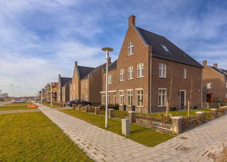 New completed young family houses on a residetial area in Randstad, Netherlands Archivio Fotografico