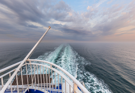 liner: Stern of a Cruise ship liner sailing across the Northsea Stock Photo
