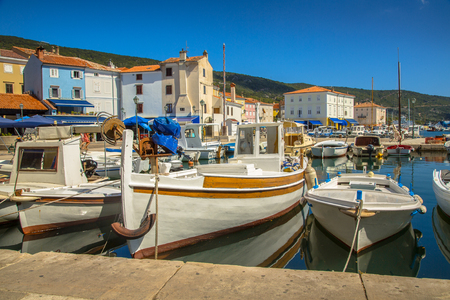 old houses: Old wooden boats in Cres town on Cres Island, Croatia