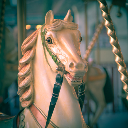 merry go round: Head of horse in a merry go round on a historic summer funfair Stock Photo