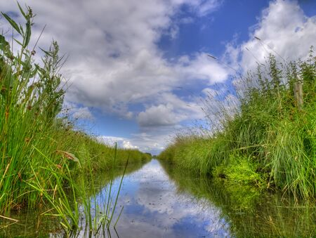 dutch: Spring HDR scene of Freshwater ditch in dutch polder landscape seen from the water level on a beautiful day with fluffy clouds and blue sky