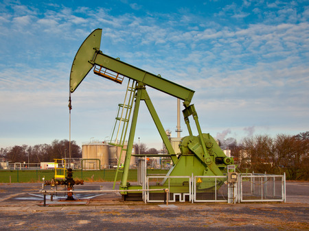 jack tar: Old European Oil Pump Jack in Germany on a Sunny Day Stock Photo