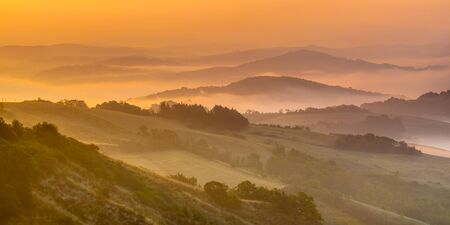 sienna: Rolling hill Landscape in Tuscany near Sienna on an Early august Morning, Italy Stock Photo