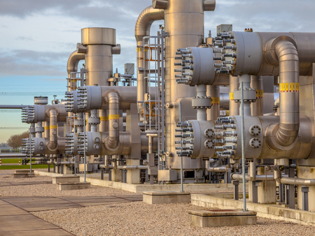 Recently upgraded Modern natural gas field  in the Netherlands Stock Photo