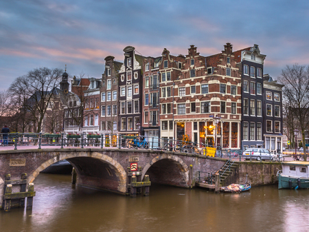 canal houses: Old traditional canal houses on the corner of brouwersgracht and Prinsengracht in the UNESCO World Heritage site of Amsterdam