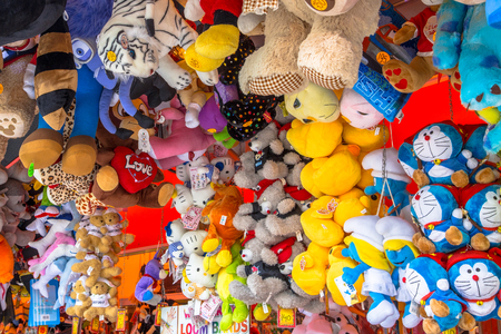 GRONINGEN, THE NETHERLANDS-MAY 17, 2015: Teddy Bears and Cuddly Animal prizes in a Stall on the annual Fun Fair