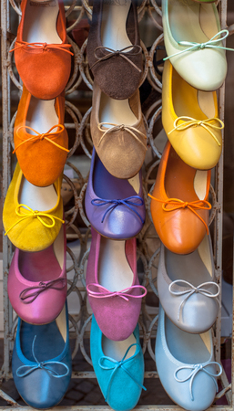 craftmanship: Custom handmade Italian shoes on Display in a craftmanship shoe shop