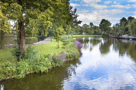 soest: Eco friendly river bank with gentle slope to stimulate growth of wildflowers and swamp vegetation in a recreational park in Soest, Netherlands Stock Photo
