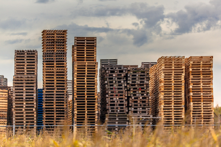 euro area: Wooden Euro Pallets stacked at Storage area of Recycling Depot Warehouse