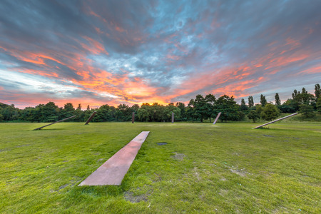 STADSPARK GRONINGEN, NETHERLANDS-AUGUST 9: Main central field in Stadspark city park on august 9, 2015. The space where many festivals, parties and events are being held. Editorial