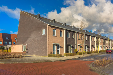 clase media: Modern Middle Class Town Houses in Terra Colors in the Netherlands, Europe