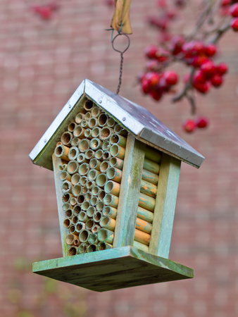 Insect house in an ecological garden Stock Photo