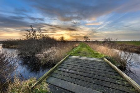 Walking track with bridge through brown winter landscape in dutch wetland de Deelen, Heerenveen