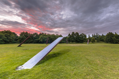 STADSPARK GRONINGEN, NETHERLANDS-AUGUST 9: Sculpture on main central field in Stadspark city park on august 9, 2015. The space where many festivals, parties and events are being organised