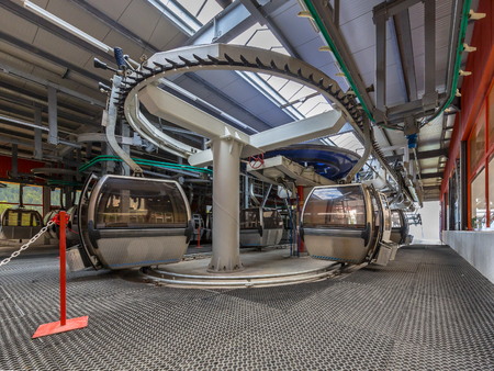 station ski: Cable car station interior in Alps ski resort skiing area