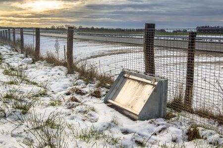 wildlife conservation: Wildlife protection fence with return facility to keep animals like badgers off the road as a nature conservation measure Stock Photo