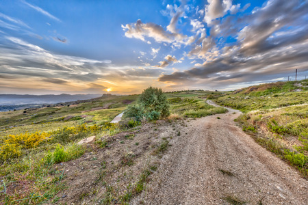 tera: Road through Mediterranean landscape on the island of Cyprus with hot semi-arid climate type BSh and corresponding vegetation