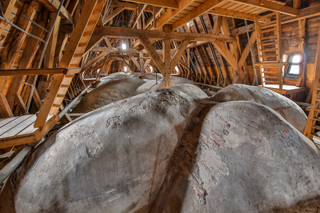 Attic of an old church with domed ceiling from the 16th century in the Netherlands