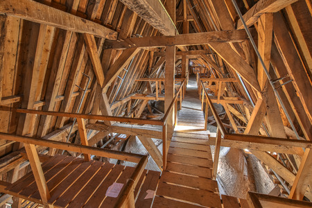Attic ceiling of an old church with vaulted ceiling from the 16th century in the Netherlands Stock Photo