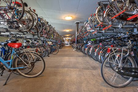 voted: Public Bicycle parking at Groningen central station. The city of Groningen has been voted  most cycle friendly city of the Netherlands for 3 years in a row.