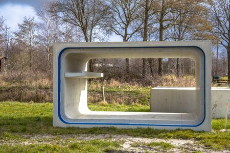 fragmentation: Element of concrete eco culvert with gangway for wildlife