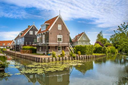 Beautiful typical fisherman village houses in Marken island Waterland, in the Ijsselmeer or formerly Zuiderzee, the Netherlands